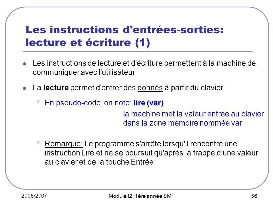 Les instructions d entrées-sorties: lecture et écriture (1)