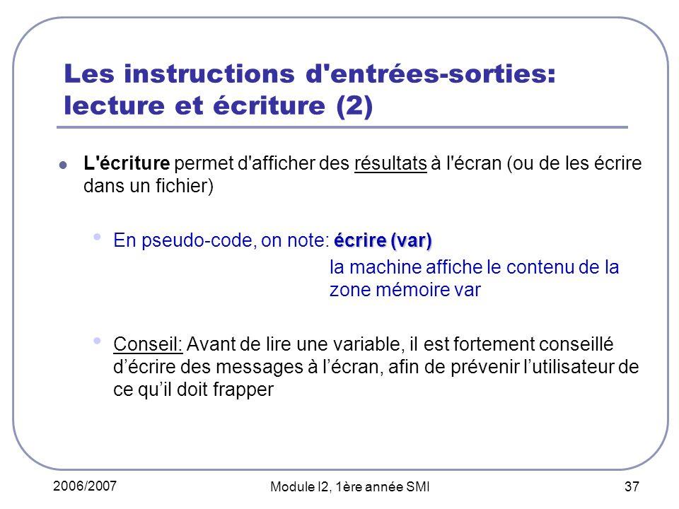 Les instructions d entrées-sorties: lecture et écriture (2)