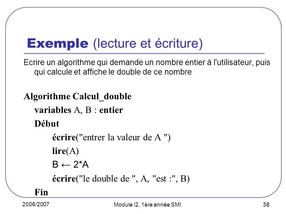 Exemple (lecture et écriture)