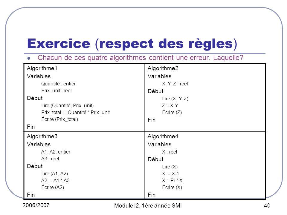 Exercice (respect des règles)