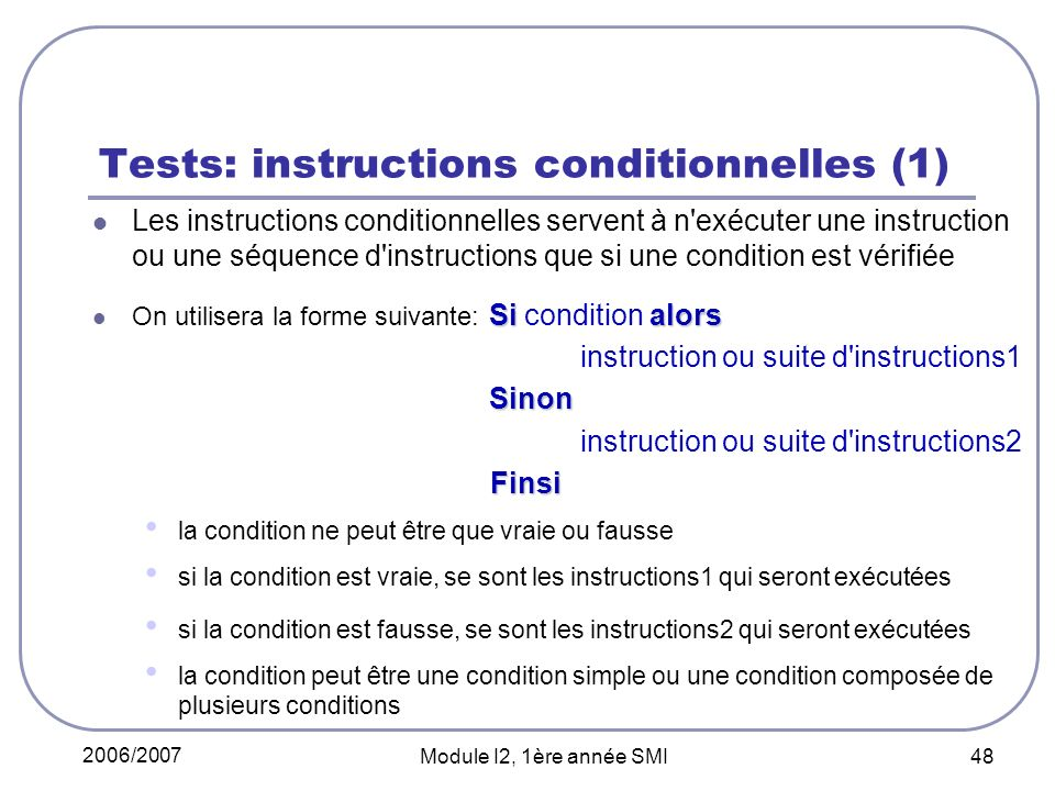 Tests: instructions conditionnelles (1)