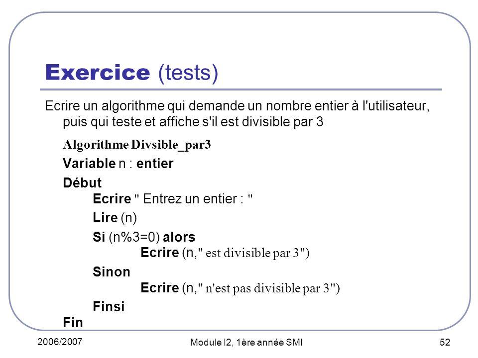 Exercice (tests) Algorithme Divsible_par3