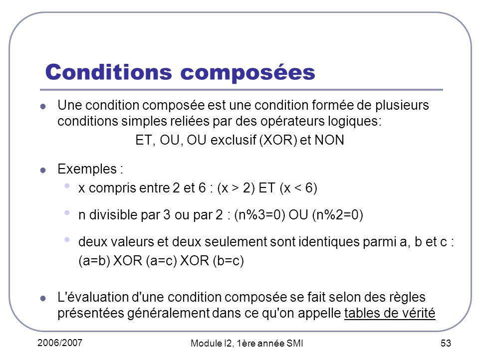 Conditions composées Une condition composée est une condition formée de plusieurs conditions simples reliées par des opérateurs logiques:
