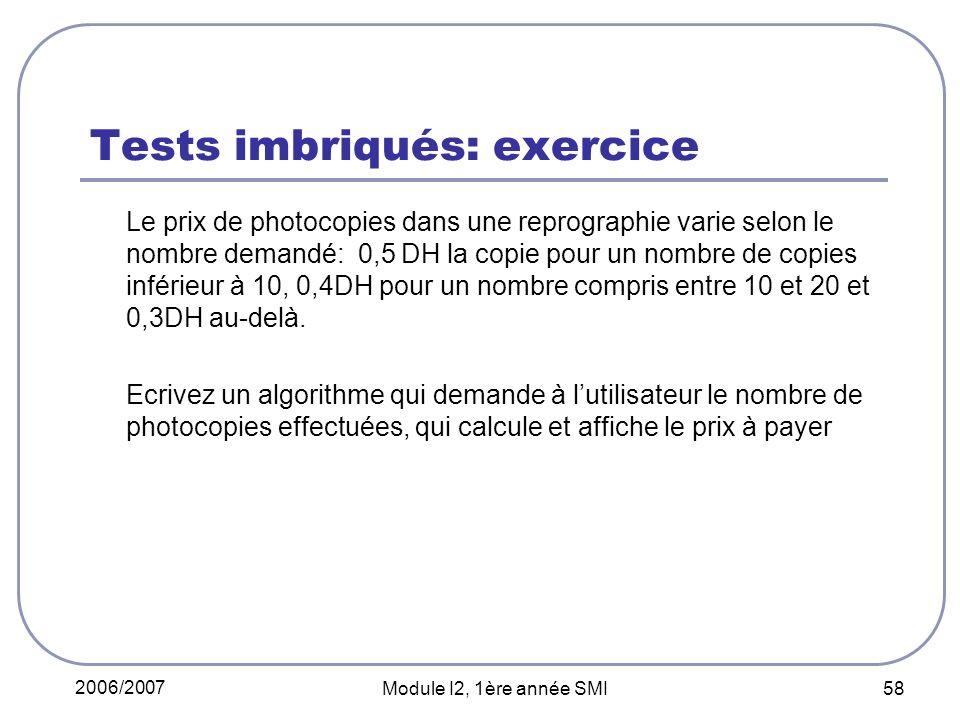 Tests imbriqués: exercice