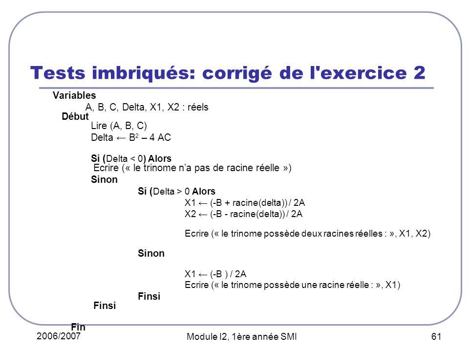 Tests imbriqués: corrigé de l exercice 2