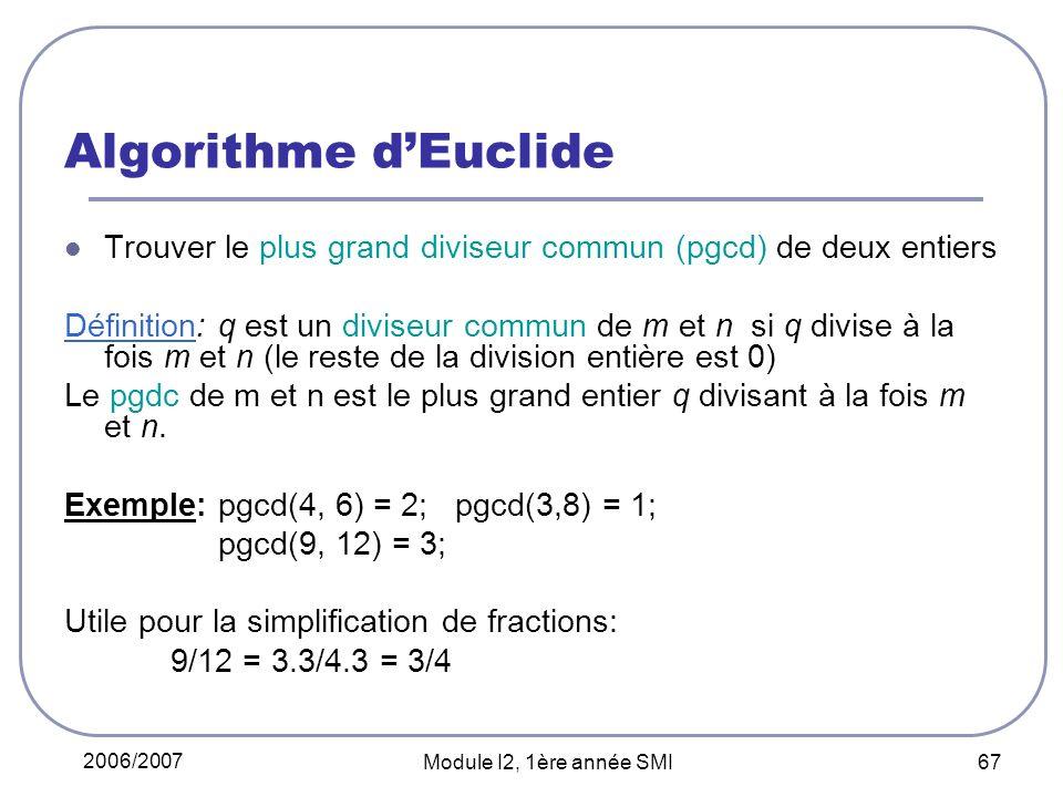Algorithme d'Euclide Trouver le plus grand diviseur commun (pgcd) de deux entiers.