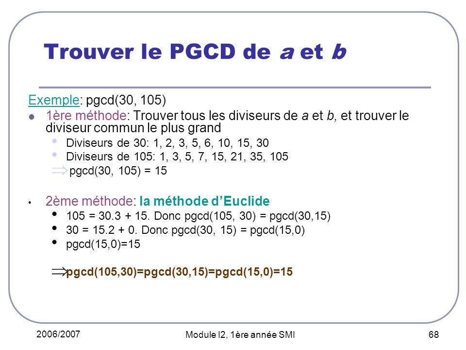 Trouver le PGCD de a et b Exemple: pgcd(30, 105)