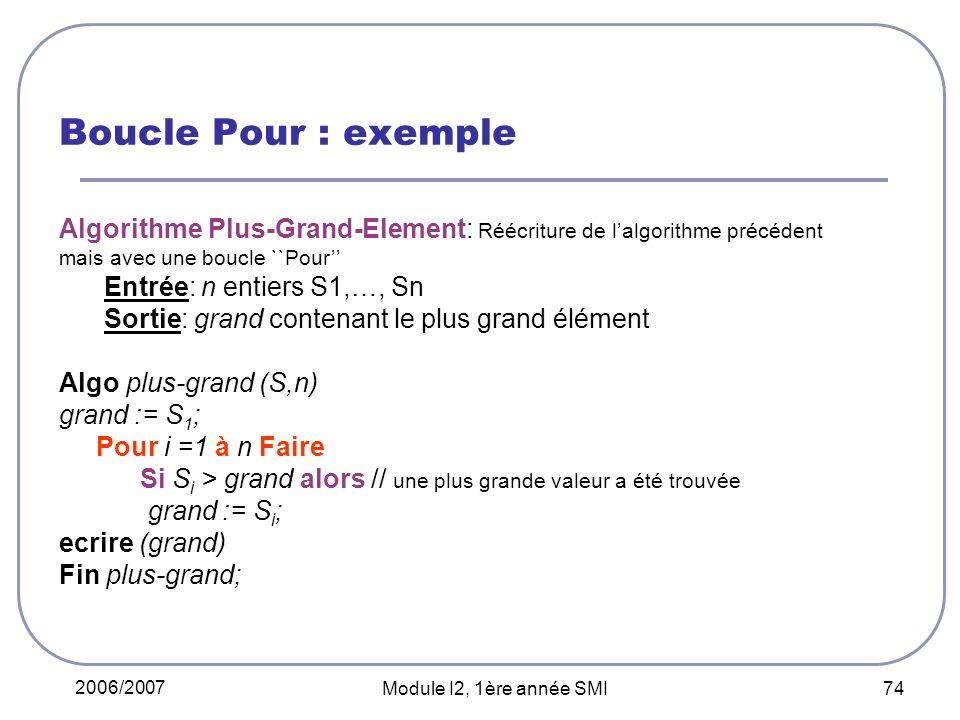 Boucle Pour : exemple Algorithme Plus-Grand-Element: Réécriture de l'algorithme précédent mais avec une boucle ``Pour''