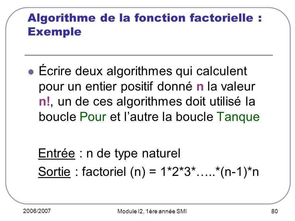 Algorithme de la fonction factorielle : Exemple
