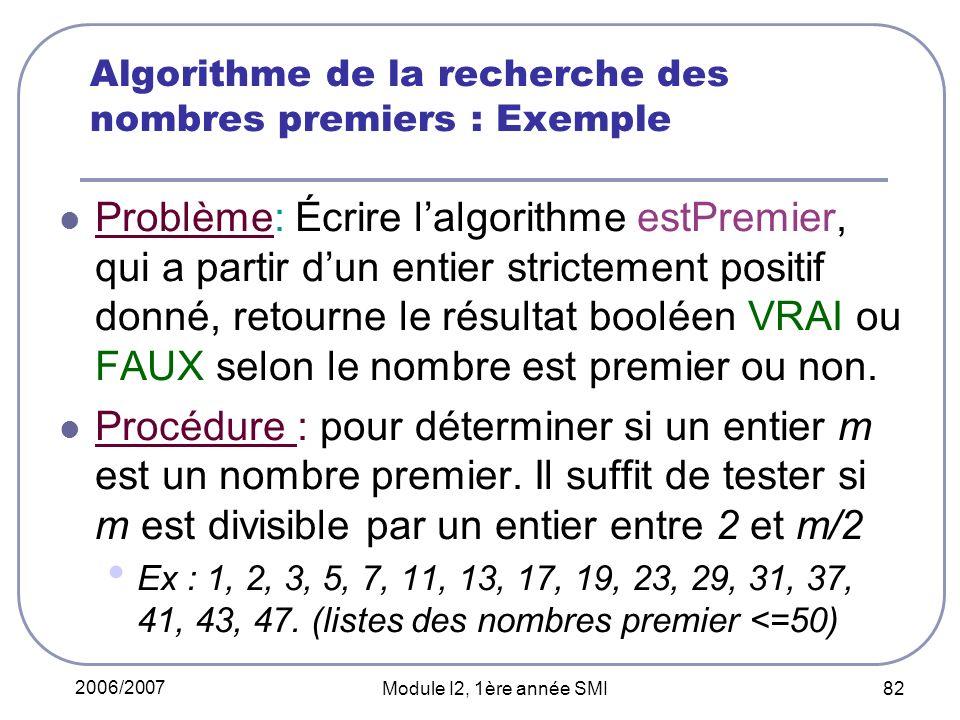 Algorithme de la recherche des nombres premiers : Exemple