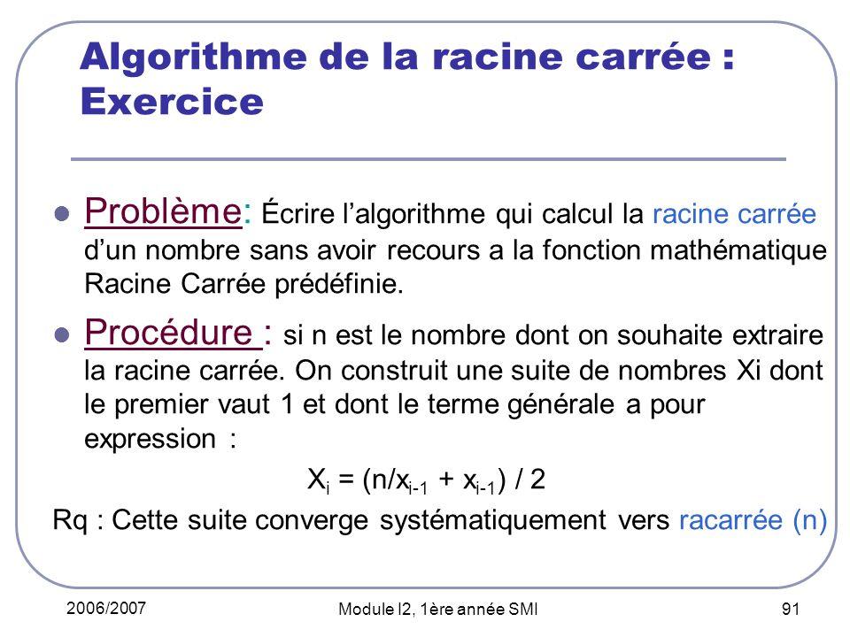 Algorithme de la racine carrée : Exercice