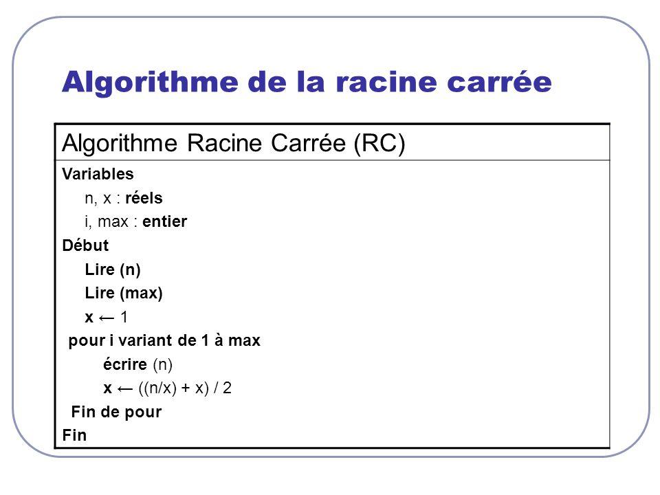 Algorithme de la racine carrée