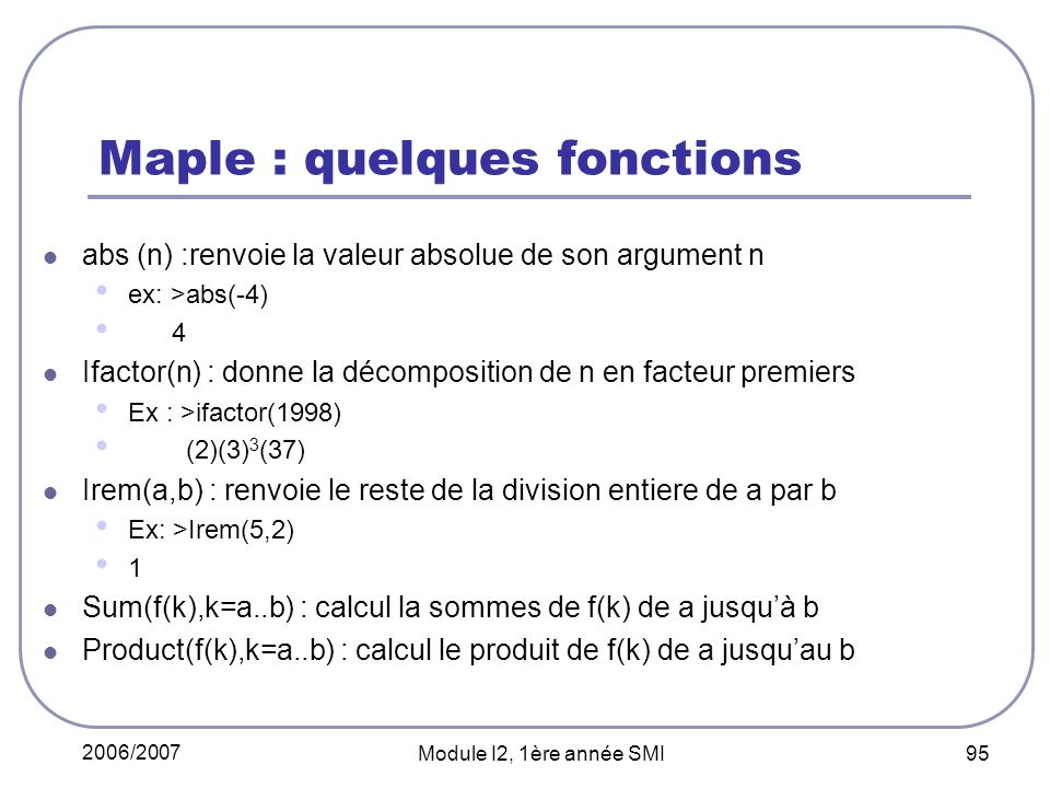 Maple : quelques fonctions