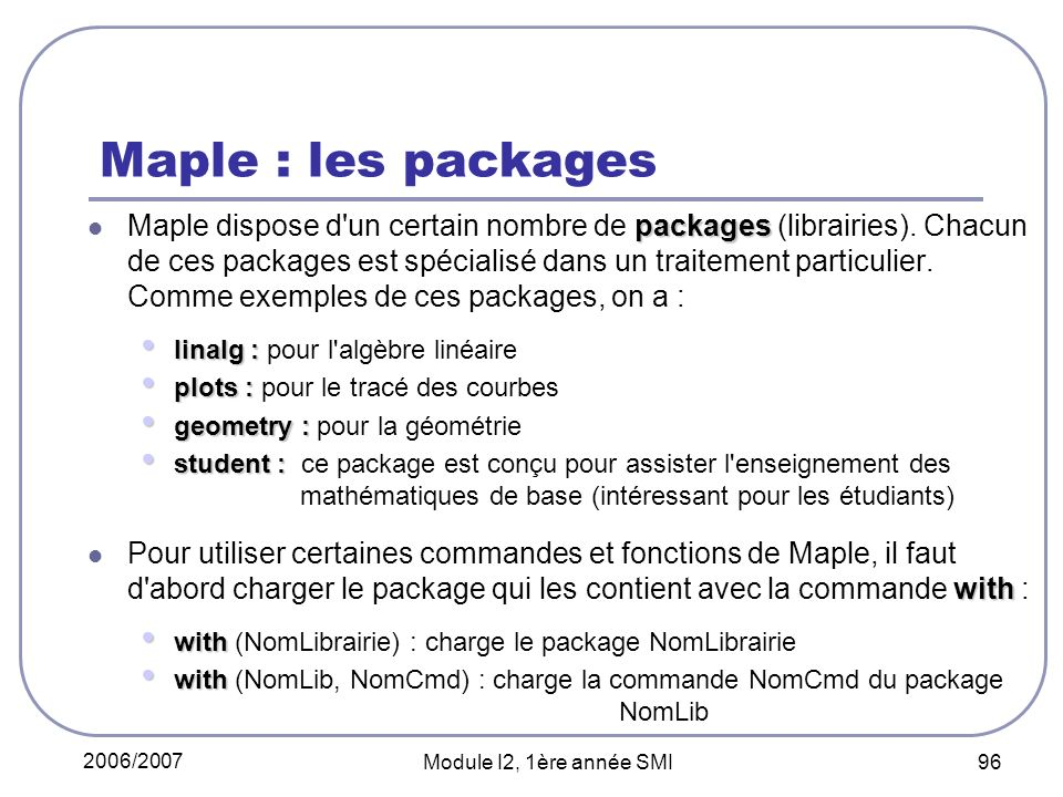 Maple : les packages