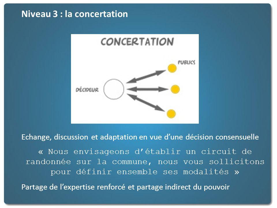 Niveau 3 : la concertation