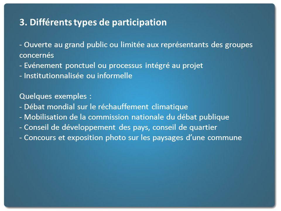 3. Différents types de participation