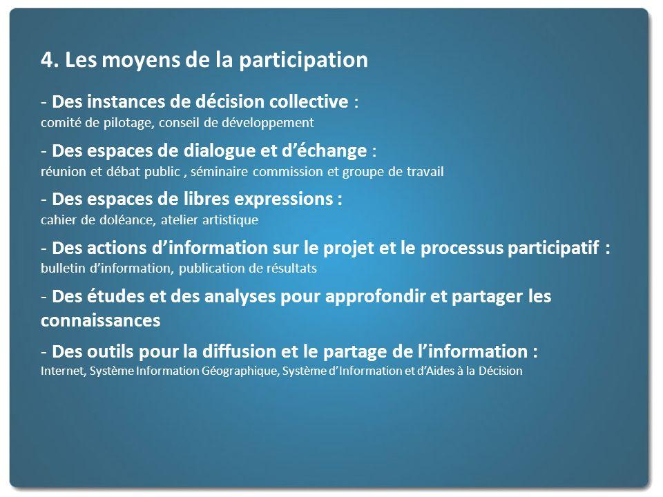 4. Les moyens de la participation