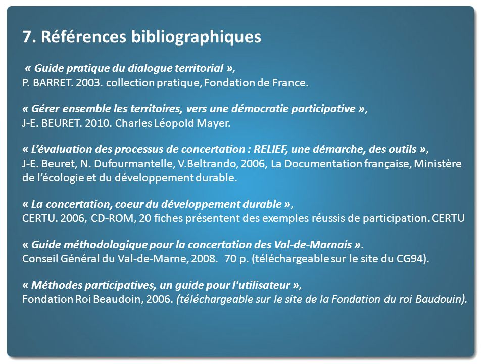 7. Références bibliographiques