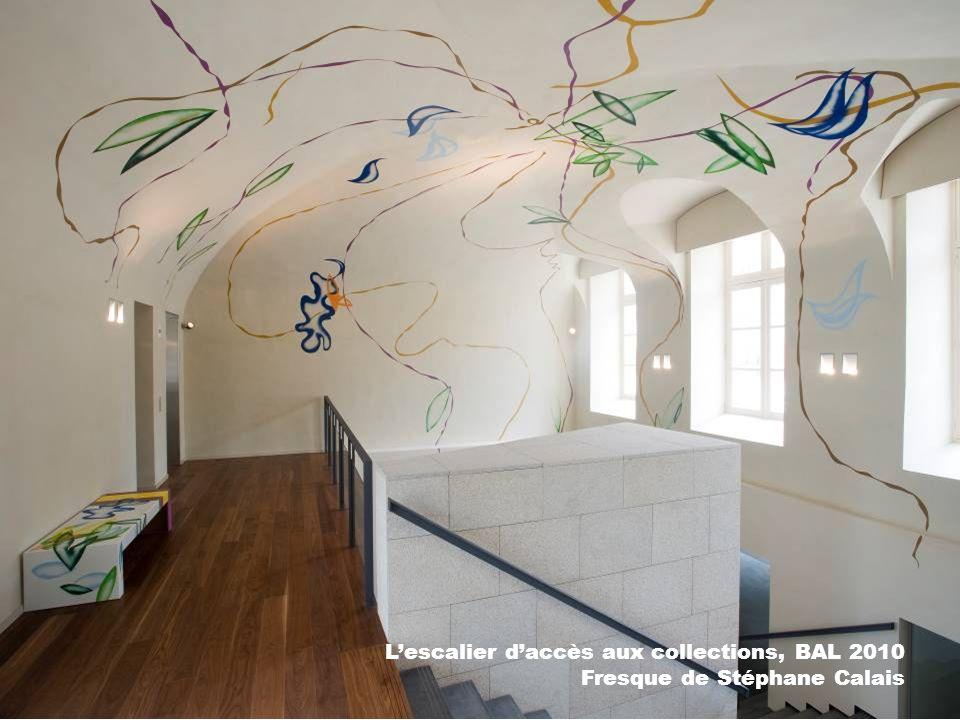 L'escalier d'accès aux collections, BAL 2010 Fresque de Stéphane Calais