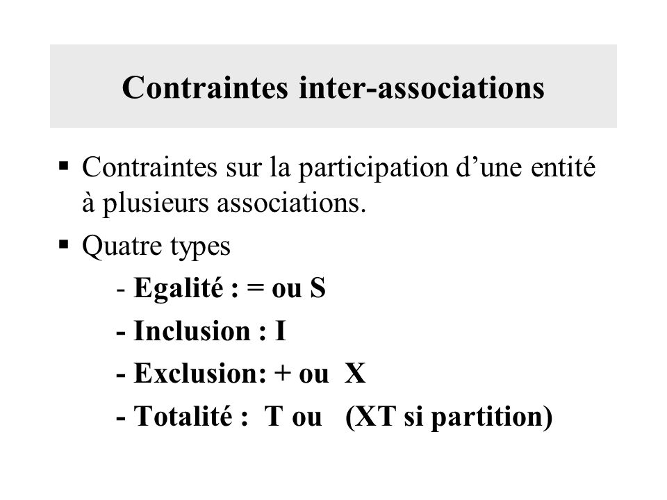 Contraintes inter-associations
