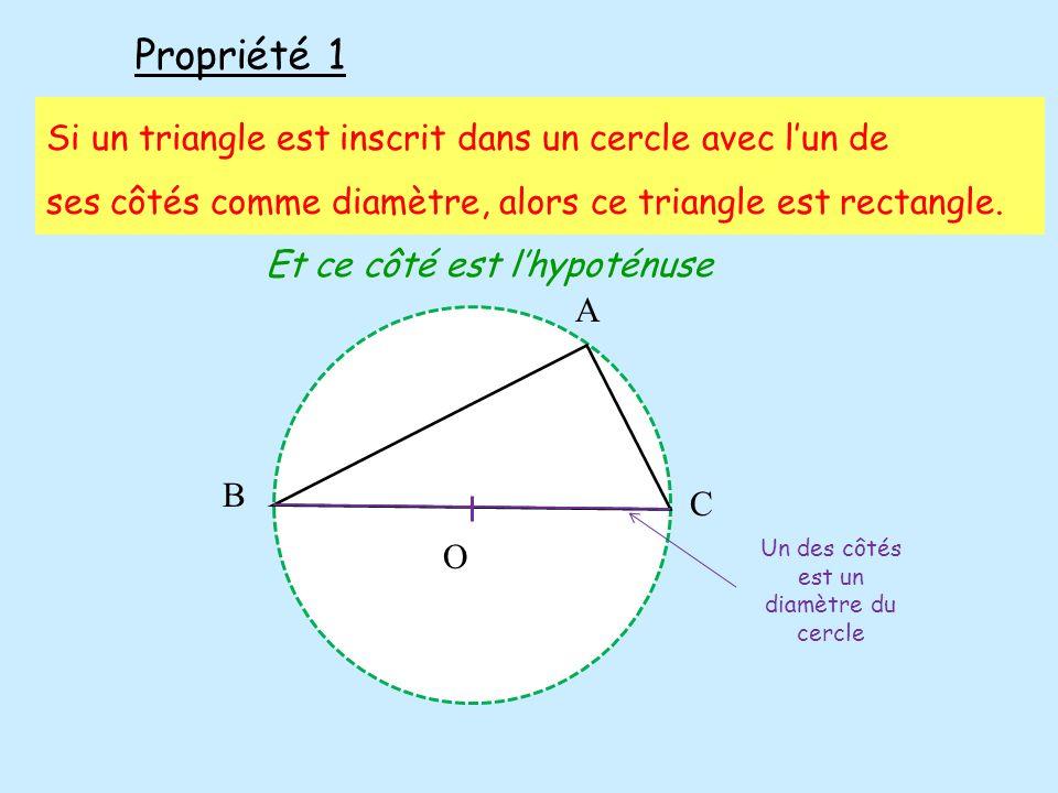 Propriété 1 Si un triangle est inscrit dans un cercle avec l'un de
