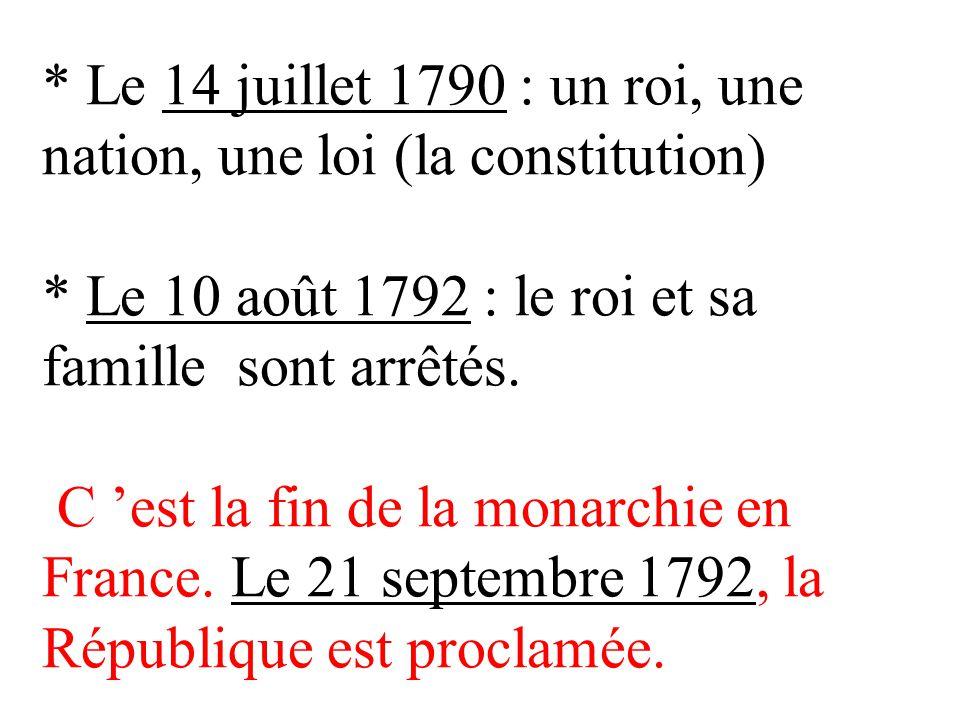 Le 14 juillet 1790 : un roi, une nation, une loi (la constitution)