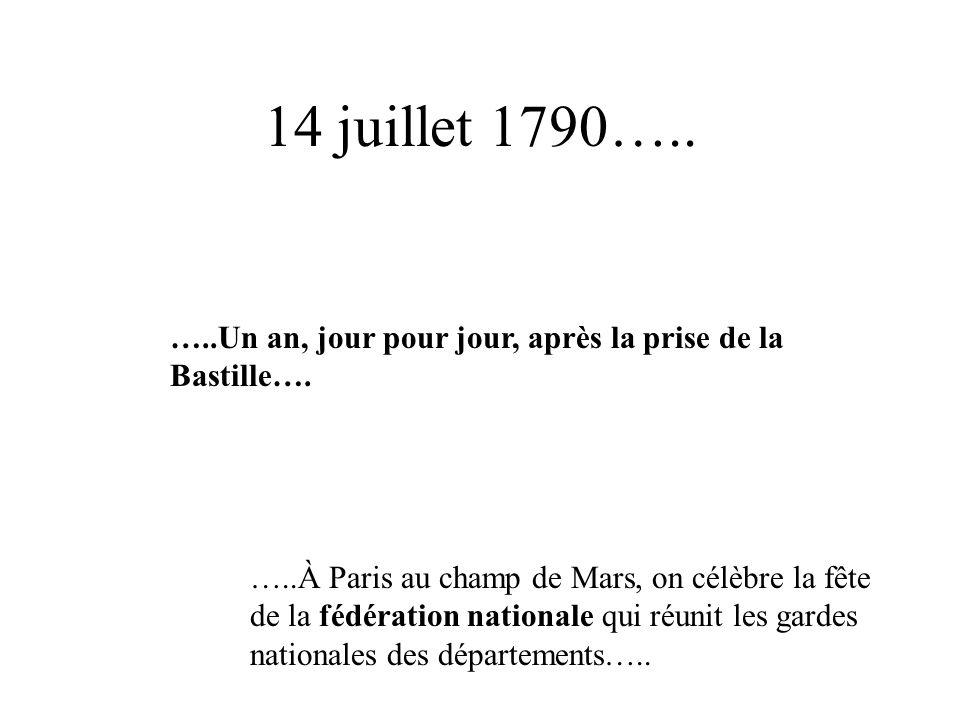 14 juillet 1790….. …..Un an, jour pour jour, après la prise de la Bastille….