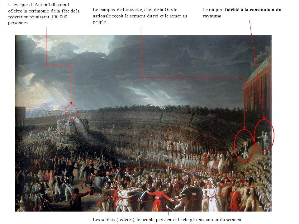 L 'évêque d 'Autun Talleyrand célèbre la cérémonie de la fête de la fédération réunissant 100 000 personnes