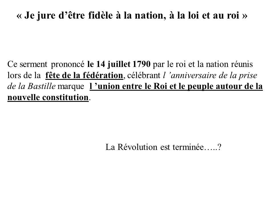 « Je jure d'être fidèle à la nation, à la loi et au roi »