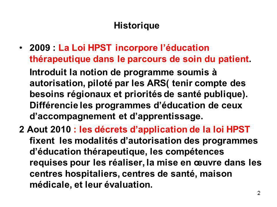 Historique 2009 : La Loi HPST incorpore l'éducation thérapeutique dans le parcours de soin du patient.