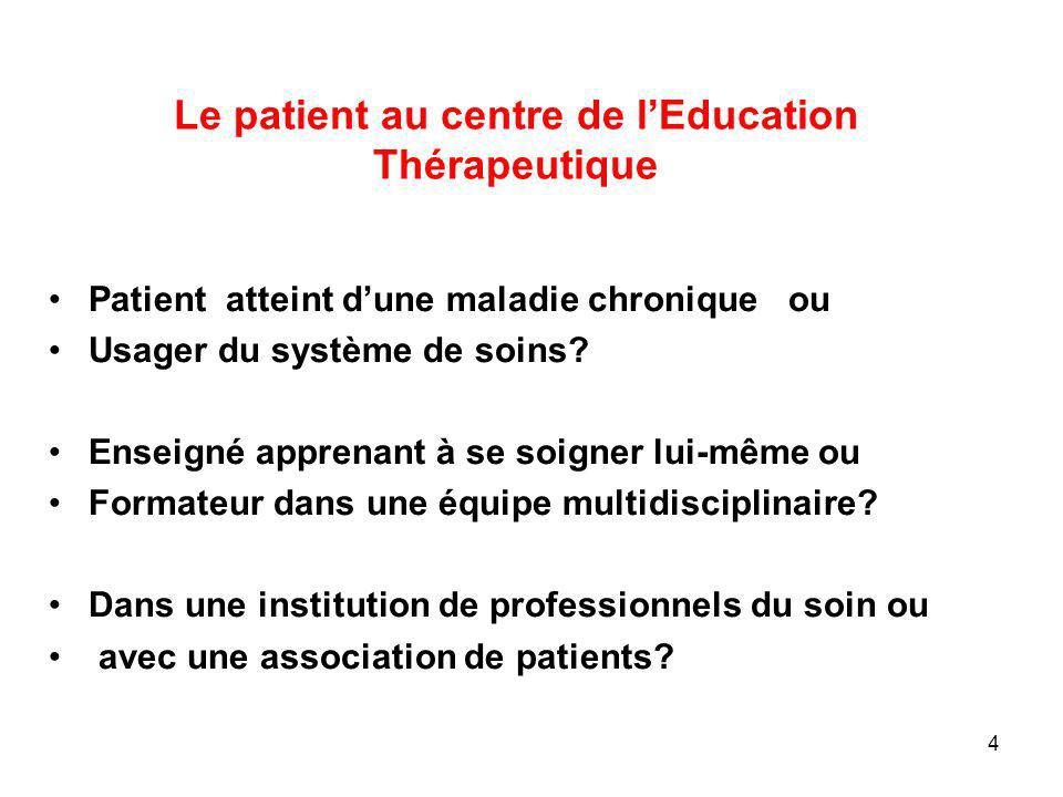 Le patient au centre de l'Education Thérapeutique