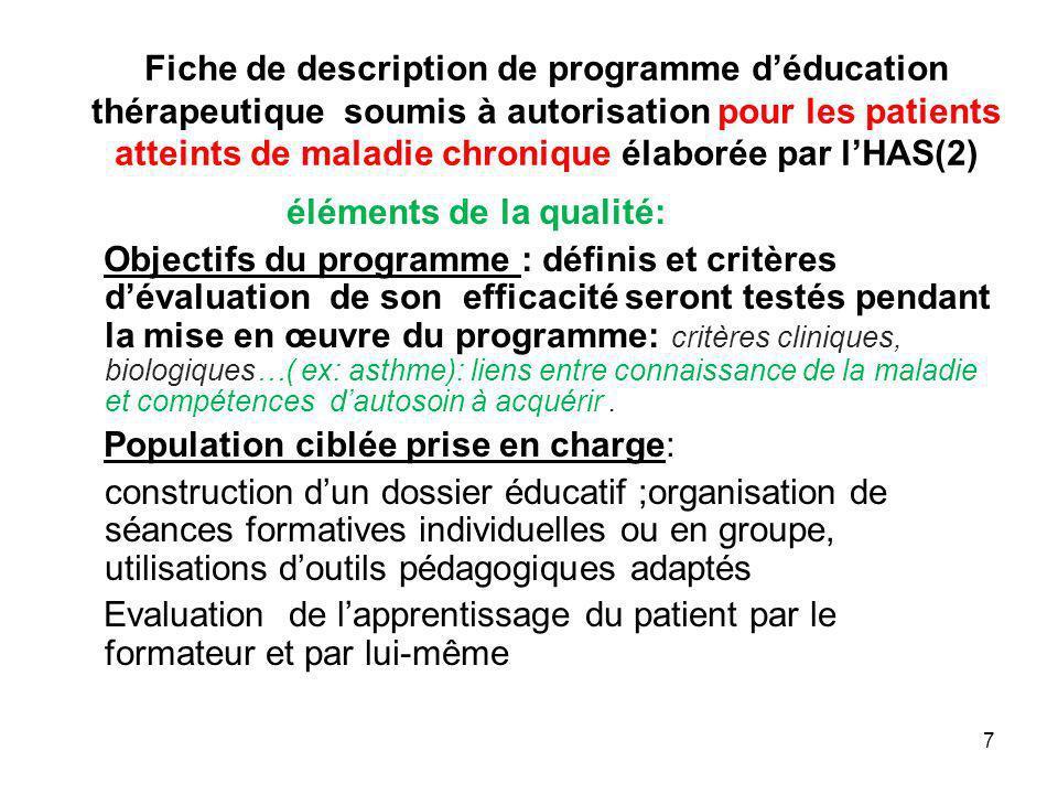 Fiche de description de programme d'éducation thérapeutique soumis à autorisation pour les patients atteints de maladie chronique élaborée par l'HAS(2)