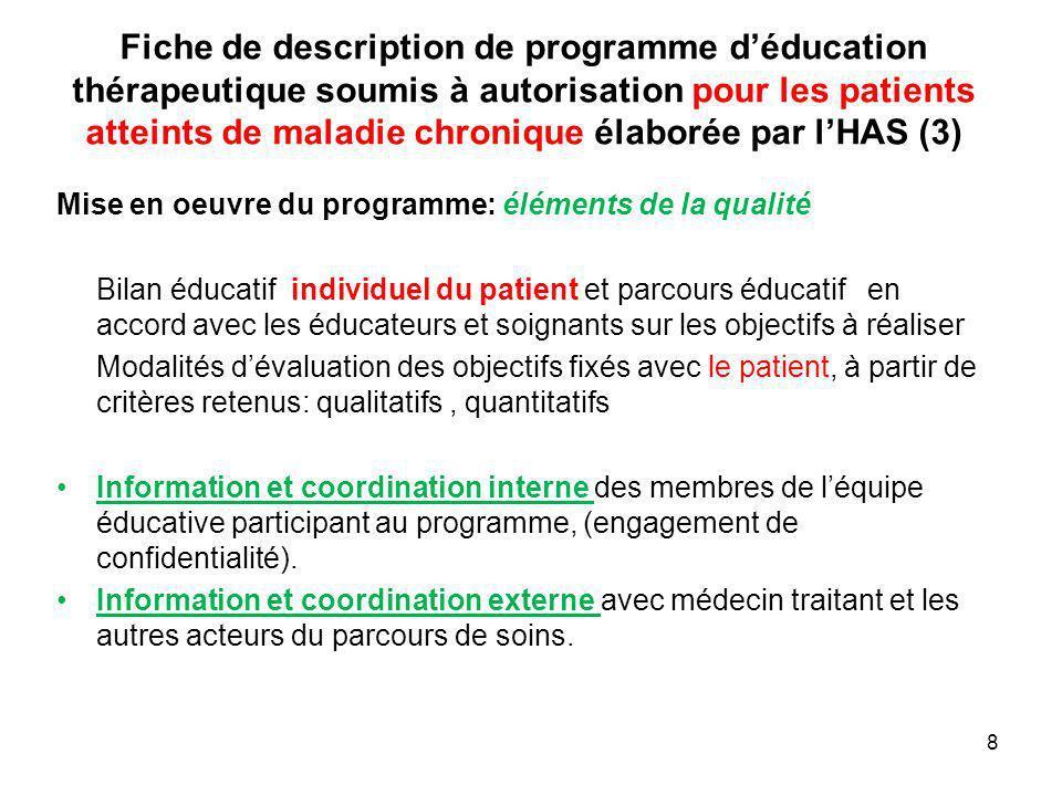 Fiche de description de programme d'éducation thérapeutique soumis à autorisation pour les patients atteints de maladie chronique élaborée par l'HAS (3)