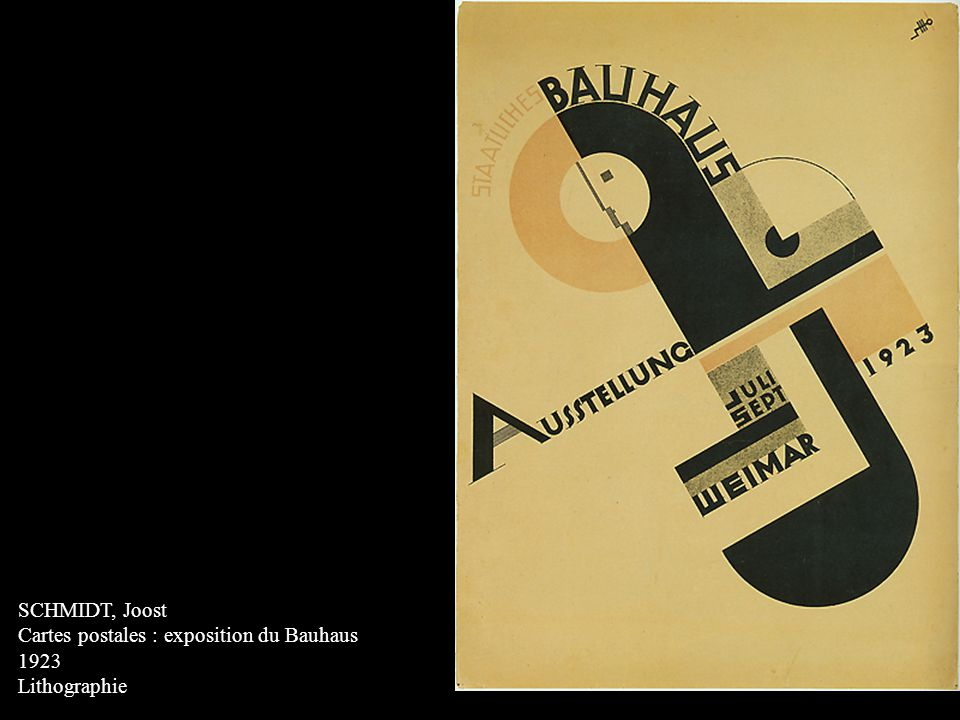 SCHMIDT, Joost Cartes postales : exposition du Bauhaus 1923 Lithographie