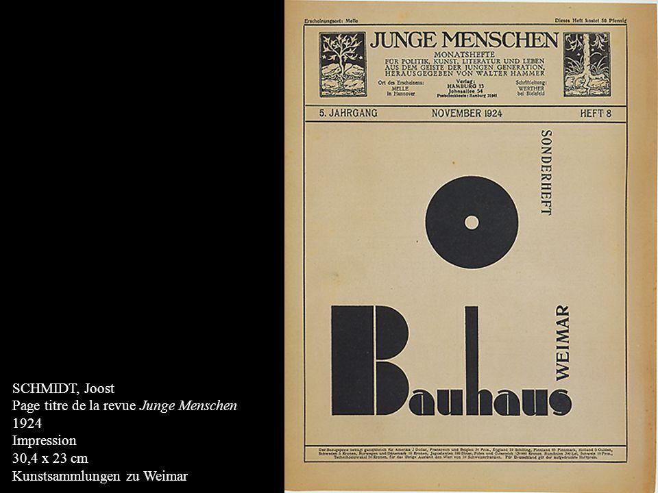 SCHMIDT, Joost Page titre de la revue Junge Menschen.