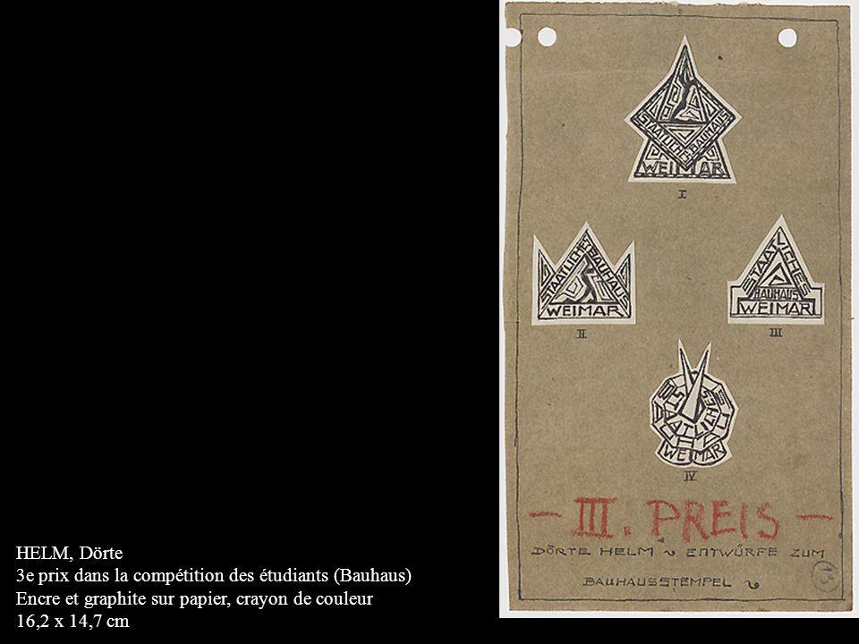 HELM, Dörte 3e prix dans la compétition des étudiants (Bauhaus) Encre et graphite sur papier, crayon de couleur.