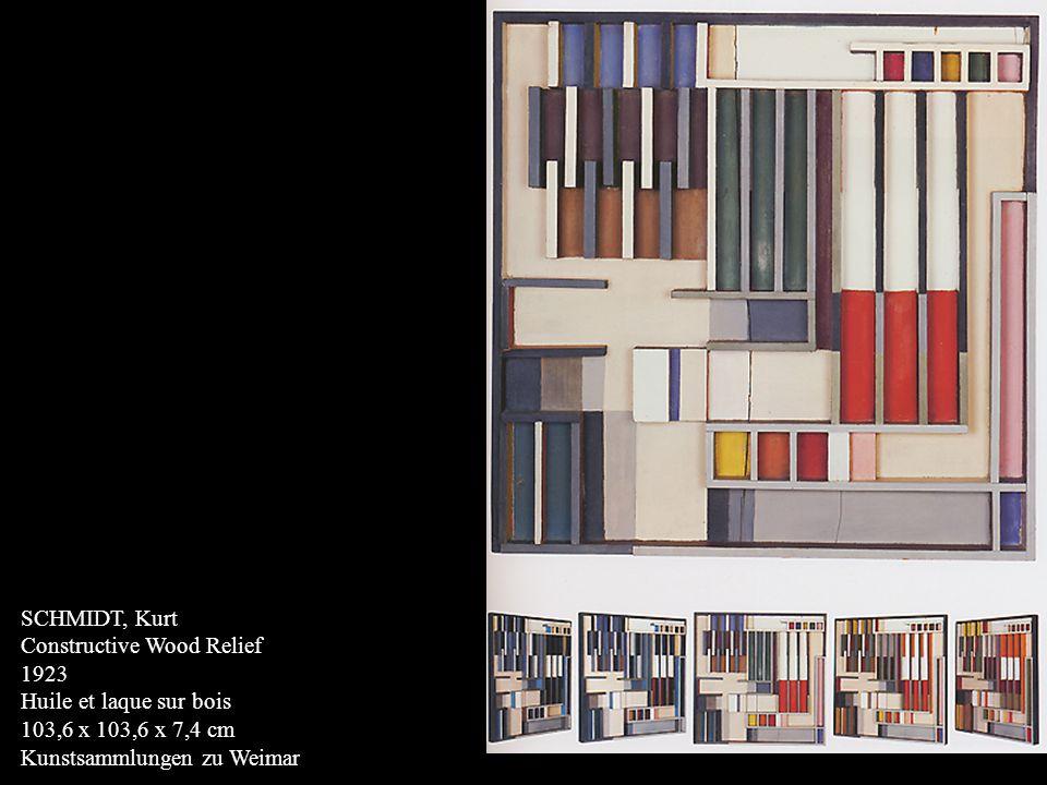 SCHMIDT, Kurt Constructive Wood Relief. 1923. Huile et laque sur bois.