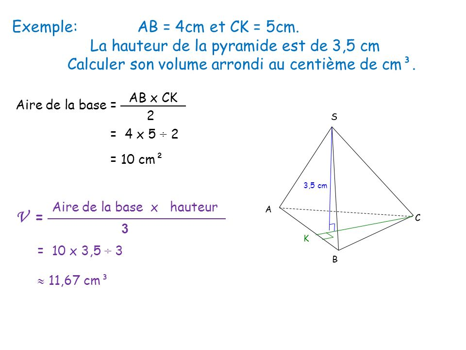 Chapitre 11 pyramides et c nes de r volution ppt t l charger for Calculer son volume de demenagement