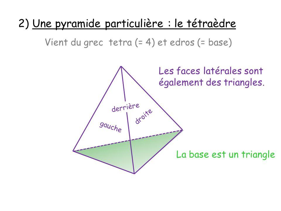 2) Une pyramide particulière : le tétraèdre