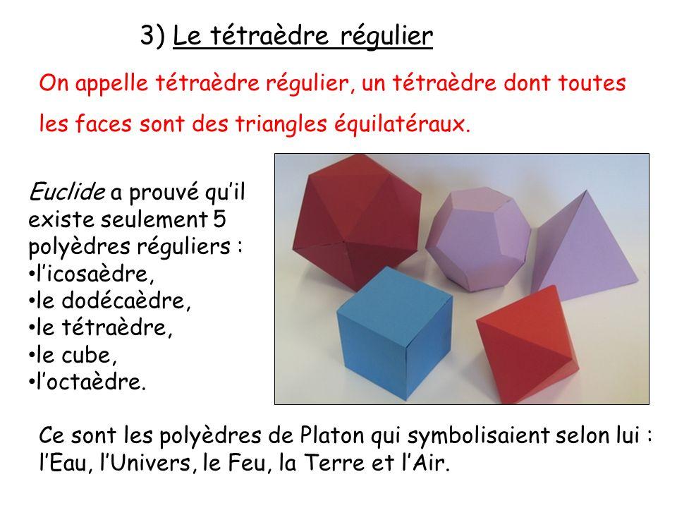 3) Le tétraèdre régulier