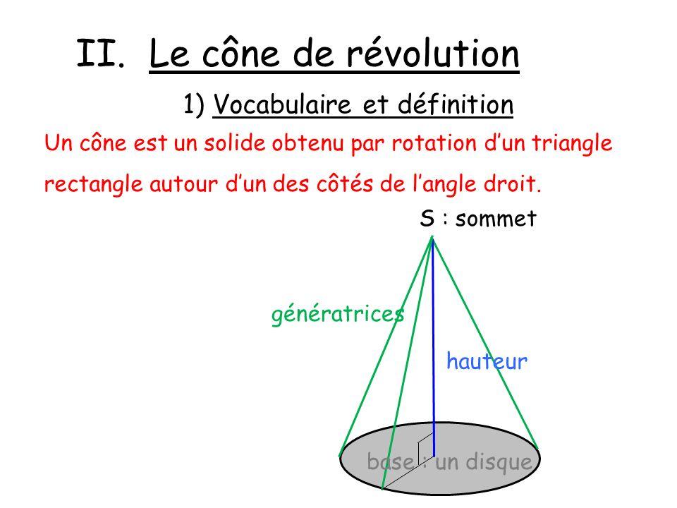 II. Le cône de révolution