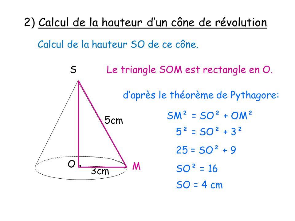 2) Calcul de la hauteur d'un cône de révolution
