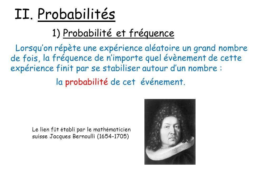 II. Probabilités 1) Probabilité et fréquence