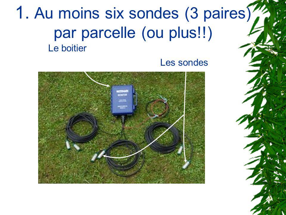 1. Au moins six sondes (3 paires) par parcelle (ou plus!!)