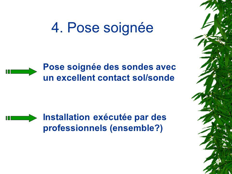 4. Pose soignée Pose soignée des sondes avec un excellent contact sol/sonde.