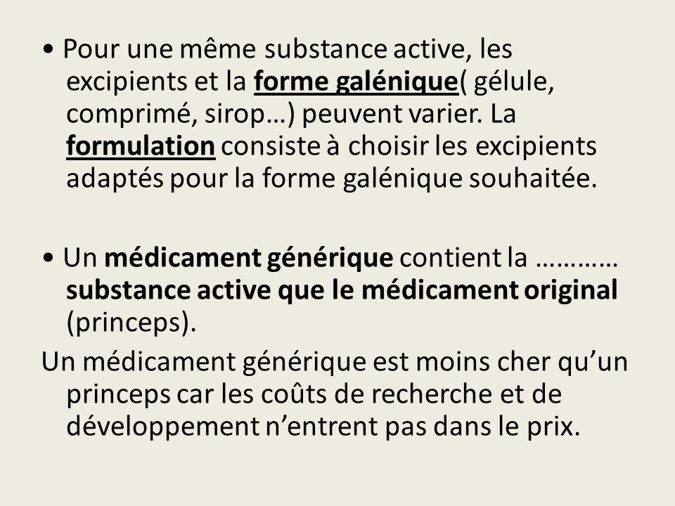 • Pour une même substance active, les excipients et la forme galénique( gélule, comprimé, sirop…) peuvent varier.
