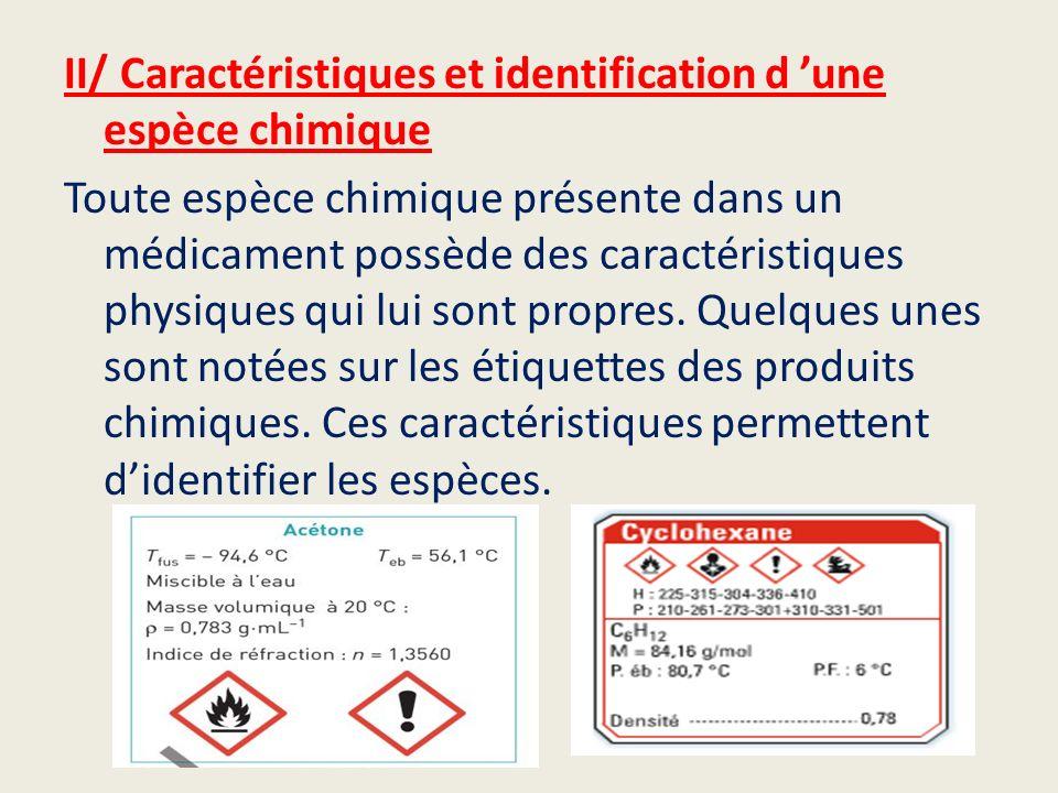 II/ Caractéristiques et identification d 'une espèce chimique Toute espèce chimique présente dans un médicament possède des caractéristiques physiques qui lui sont propres.