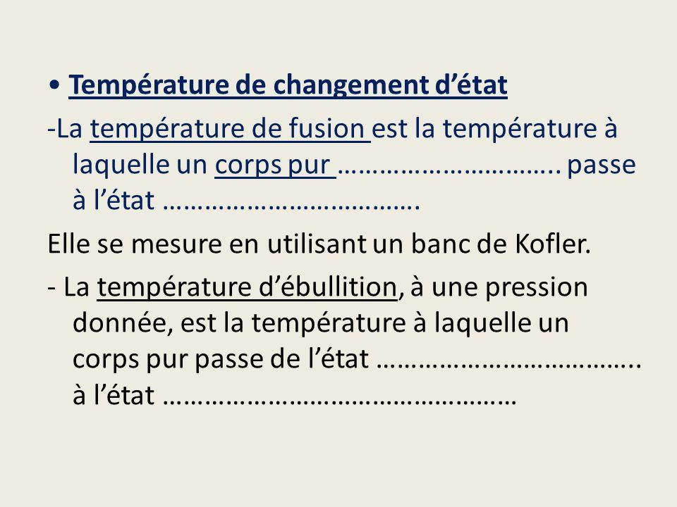 • Température de changement d'état -La température de fusion est la température à laquelle un corps pur …………………………..