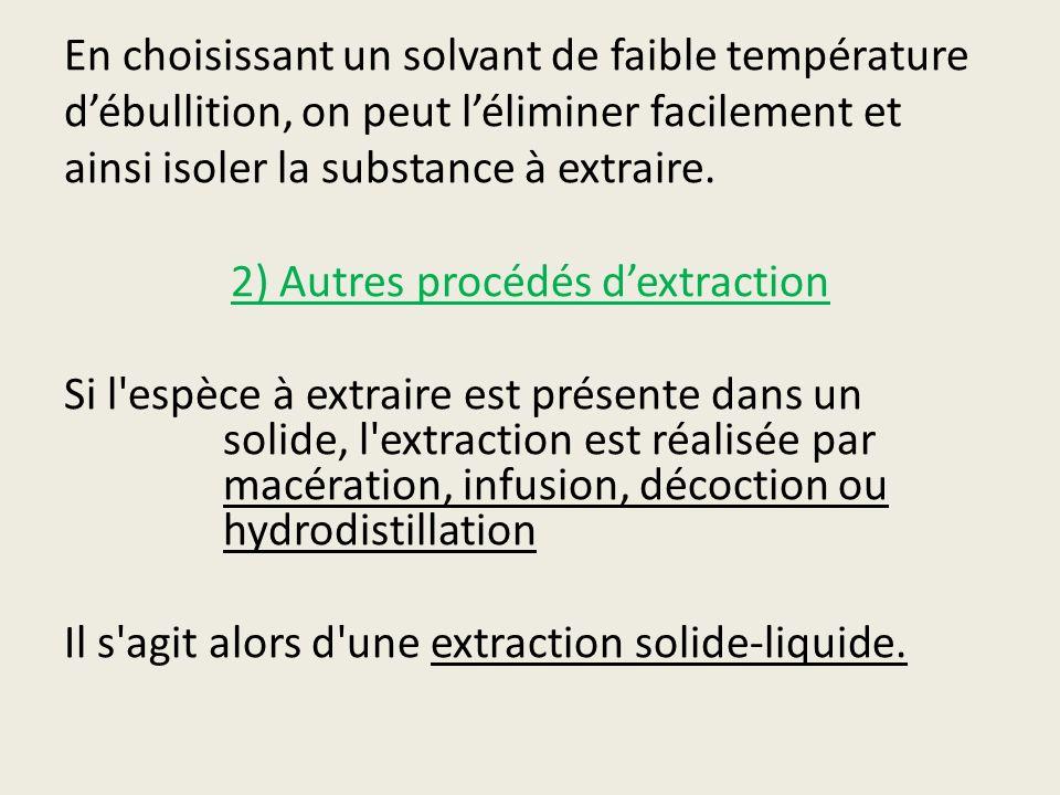 En choisissant un solvant de faible température d'ébullition, on peut l'éliminer facilement et ainsi isoler la substance à extraire.