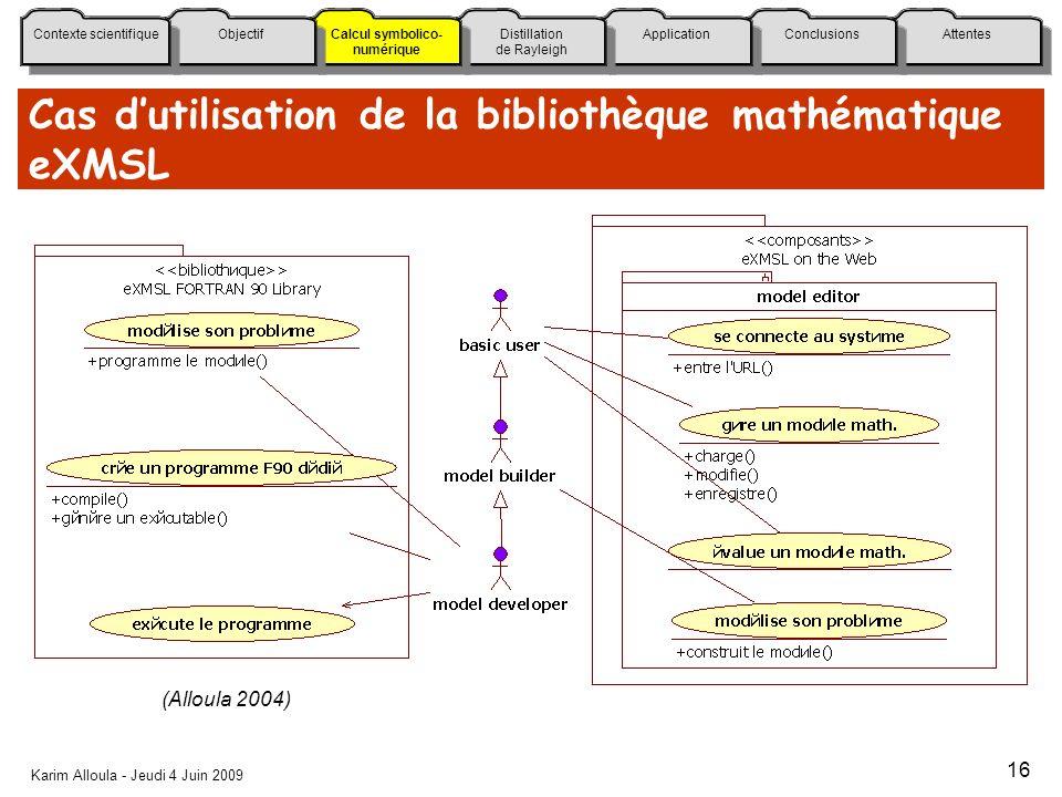 Cas d'utilisation de la bibliothèque mathématique eXMSL